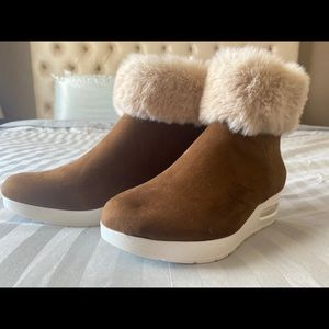 DKNY brown suede faux fur trim booties